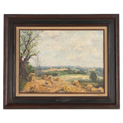 1933 Oil Painting of Rural Landscape