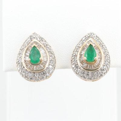 14K Yellow Gold Emerald and 1.10 CTW Diamond Earrings