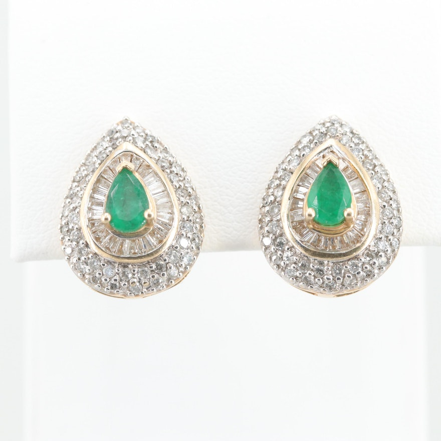 14K Yellow Gold Emerald and 1.10 CTW Diamond Earrings