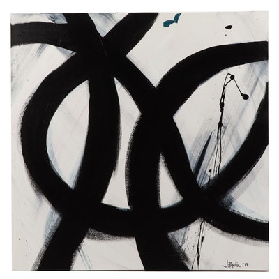 "J. Popolin Acrylic Painting ""Black Curves"""