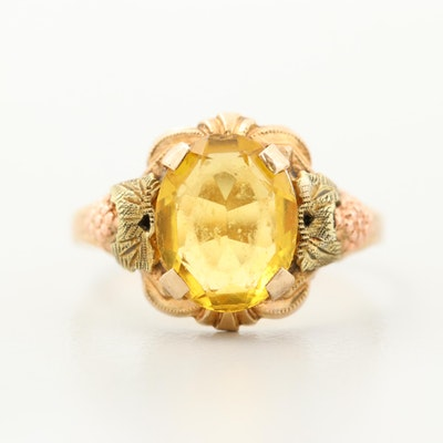 Vintage 10K Yellow and Rose Gold Glass Ring