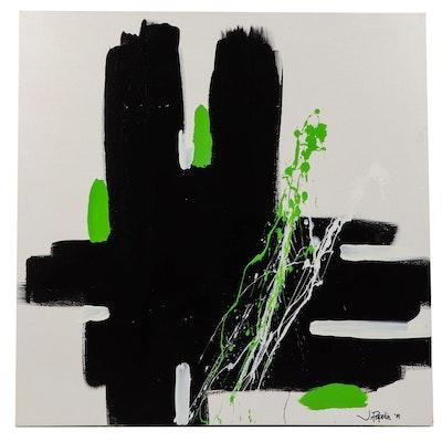 "J. Popolin Acrylic Painting ""Black White Green"""