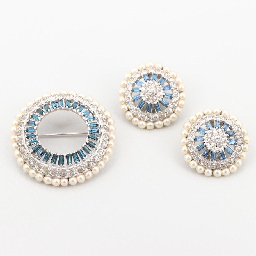 Vintage Otis Sterling Glass Foilbacks and Imitation Pearl Brooch and Earrings