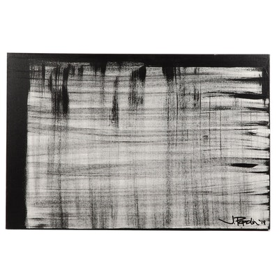 "J. Popolin Acrylic Painting ""Black Linen"""