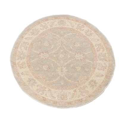 4.1' x 4.1' Hand-Knotted Pakistani Turkish Oushak Round Rug