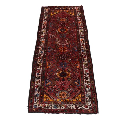 3.7' x 8.9' Hand-Knotted Persian Zanjan Long Rug, Circa 1970s