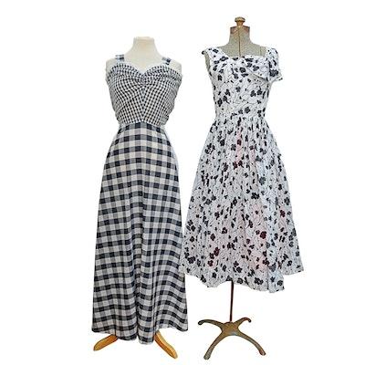 Jerry Gilden Floral Spectator Dress and Gingham Dress, 1960s Vintage