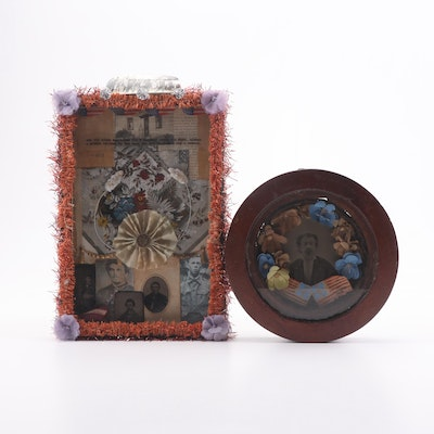 Folk Art American Soldier Memorial Shadow Boxes, 19th to Early 20th Century