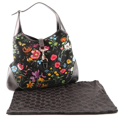 Gucci Canvas Floral Flora Large Jackie Hobo Bag Trimmed in Black Leather