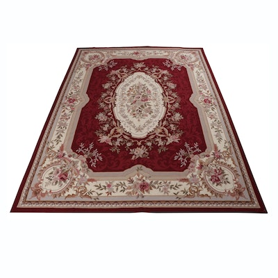 9' x 12' Hand-Stitched Sino-French Aubusson Needlepoint Room-Size Rug
