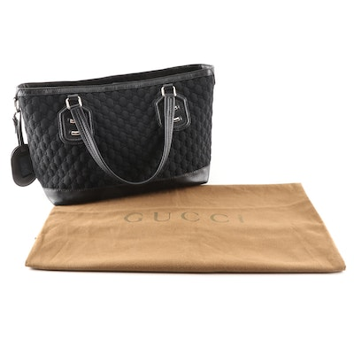 Gucci Black GG Neoprene and Leather Tote Bag