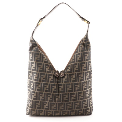 Fendi Zucca Canvas V-Zip Handbag Trimmed in Brown Leather