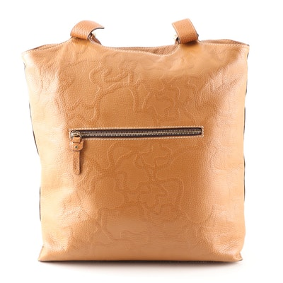 Tous Embossed Pebbled Leather Hobo Bag in Camel