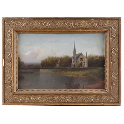 Oil Painting of a River Scene with Church