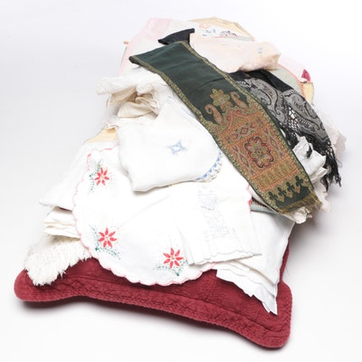 Quilt Stand with Patchwork Samples, Linens and Pillow, Mid to Late 20th Century
