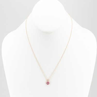 14K Yellow Gold Diamond and Ruby Pendant Necklace