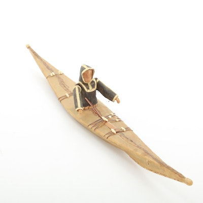 Folk Art Eskimo and Kayak Sculpture