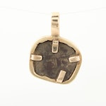 14K Yellow Gold Pendant with Circa 1600 Spanish Colonial 1/2 Real Cob Coin