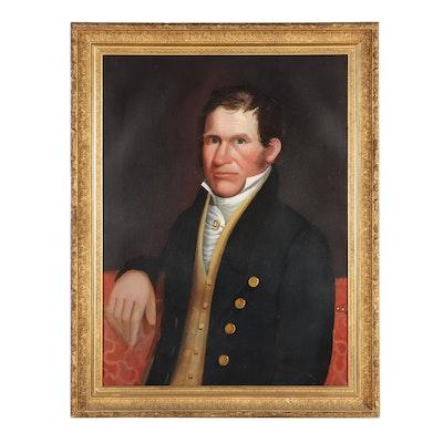 Joseph Greenleaf Cole Gentleman Portrait Oil Painting