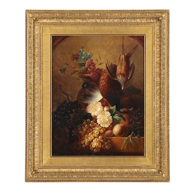 19th Century Still Life with Pheasant Oil Painting