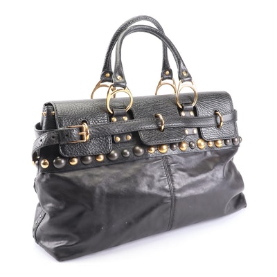 Gucci Black Leather Studded Top Handle Bag