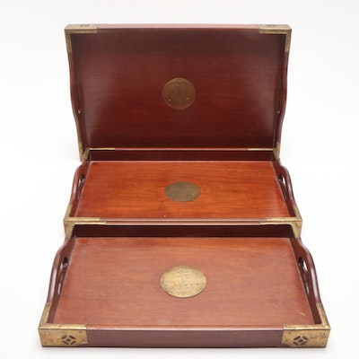 Wooden Nesting Serving Trays with Brass Embellishments, Mid-Century