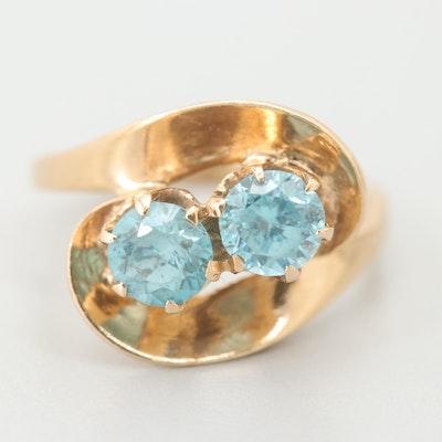 Retro 14K Yellow Gold Blue Zircon Swirl Ring