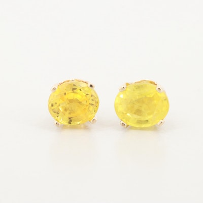 14K Yellow Gold Yellow Sapphire Stud Earrings