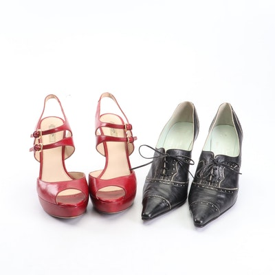 Paul Smith for Emma Hope Brogue Heels and Prada Platform Leather Peep-Toe Heels