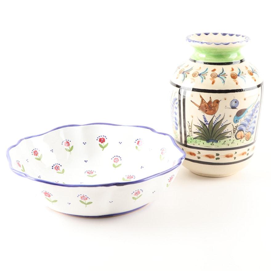"""Mexican Vase and Sigma Porcelain """"Le Petite Fleur"""" Pasta Bowl"""