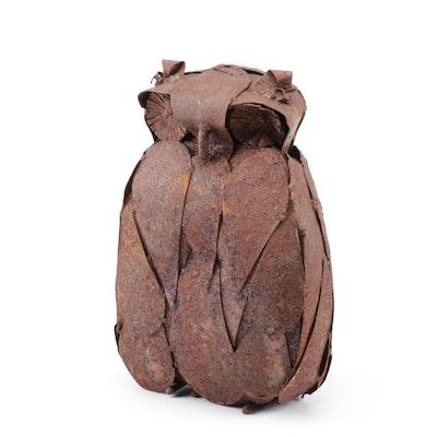 Brutalist Metal Sculpture of Owl