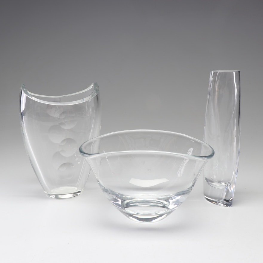 Crystal Vases Including Waterford and Nambé