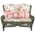 Wicker Loveseat with Green Finish