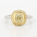 Platinum  and 18K Yellow Gold 1.38 CTW Diamond Ring