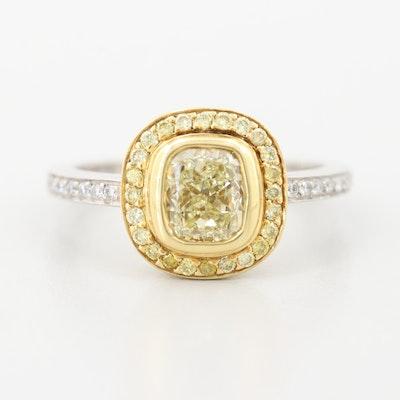Platinum  and 18K Yellow Gold 1.38 CTW Diamond Ring