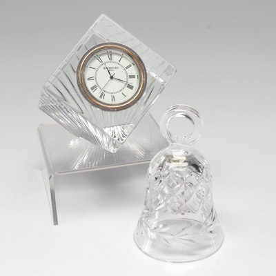 "Waterford Crystal Bell and ""Meridian"" Quartz Clock"