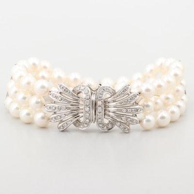 18K White Gold Cultured Pearl and 1.24 CTW Diamond Three Strand Bracelet