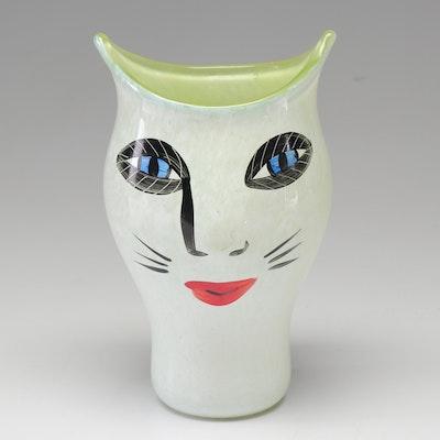 Ulrica Hydman-Vallien Kosta Boda Hand-Painted Glass Cat Face Vase