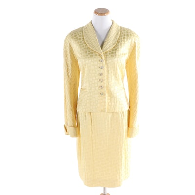 Christian Dior Textured Skirt Suit in Butter Yellow