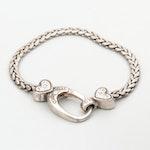 Sterling Silver Rhinestone Heart Bracelet