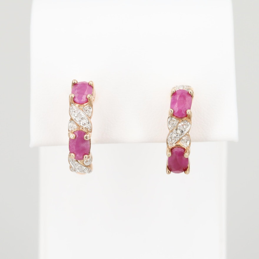 ccbe17e4234dd Gold Wash on Sterling Silver Ruby and Diamond J-Hoop Earrings