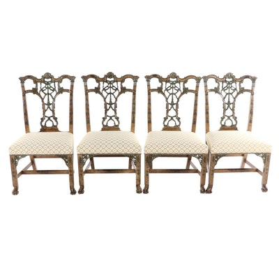 Paint Decorated Chippendale Style Dining Chairs, Late 20th Century