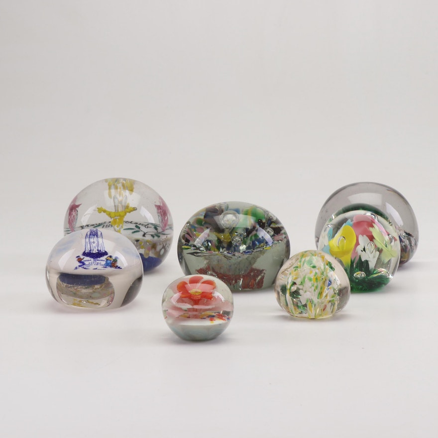 Blown Glass Paperweights Featuring Joe St  Clair and Victorian Era