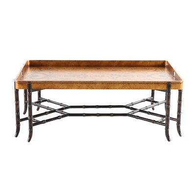 EJ Victor Tray Top Cocktail Table with Faux Bamboo Base, 20th Century