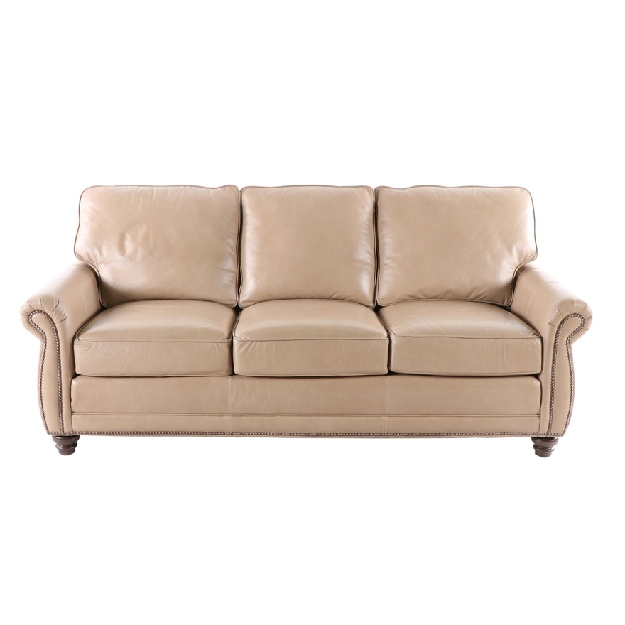 Smith Brothers Taupe Leather Sofa with Nailhead Trim, Contemporary
