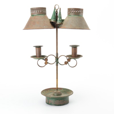 British Bright & Co. Late Arcand & Co. Double Candle Student Lamp, Mid 19th C.