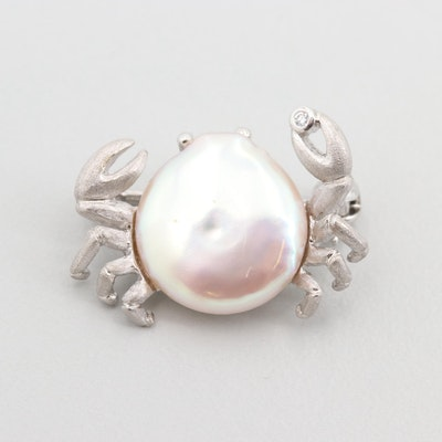 18K White Gold Cultured Pearl and Diamond Crab Pin
