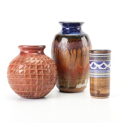 Chinese Celadon Glazed Slip Cast Earthenware Vases | EBTH