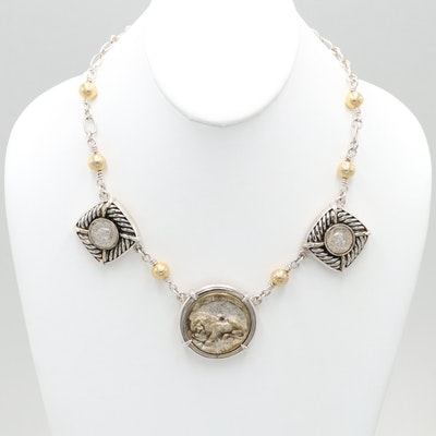 Barry Brinker 950 Silver Necklace With Gold Wash Accents