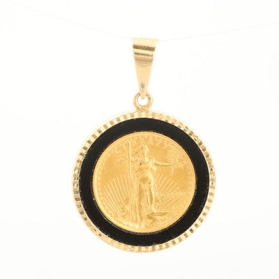 14K Yellow Gold Pendant with 1990 1/10 Oz. $5 Gold Eagle Bullion Coin
